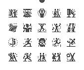 Dancing. Active time, leisure and entertainment. Couple of dancers. Party and celebration. Disco dance, ballet, brakedance, pylon dance. Vector Solid Icons. Simple Pictogram