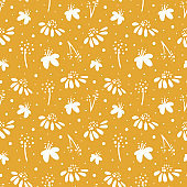 Simple botanical nature pattern. Daisies and other beautiful wildflowers.