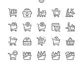 Shopping cart. Shop, supermarket, marketing, basket, store, retail. Eco shopping. Pixel Perfect Vector Thin Line Icons. Simple Minimal Pictogram