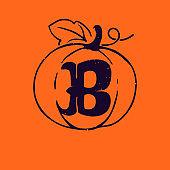 B letter logo in pumpkin with grunge texture.