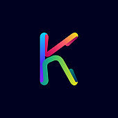 K letter logo made of multicolor gradient neon line.