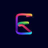 E letter logo made of multicolor gradient neon line.