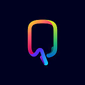 Q letter logo made of multicolor gradient neon line.