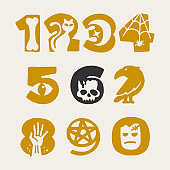 Numbers set for your Halloween design.