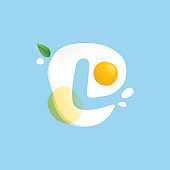 Letter L logo on a Fried Egg with green leaf and splashes.