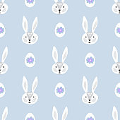 Easter  Beautiful festive seamless pattern with  easter eggs,   cute bynny,