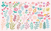 Big set of flowers and herbs. Vector collection leaf.