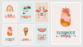 Bohemian Summer, modern summer illustrations and cards design with rainbow, flamingo, pineapple, ice cream and watermelon