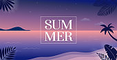 Summer time fun concept design. Creative background of landscape, night, evening panorama of sea and beach. Summer sale, post template