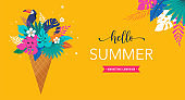Summer scene with ice cream cone filled with jungle exotic leaves and toucan. Hello summer concept illustration, background and banner