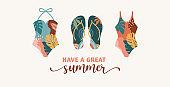 Bohemian Summer, modern summer illustrations and design of rainbow, flamingo, pineapple, ice cream and watermelon
