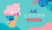 Summer time fun concept design. Creative background of landscape, panorama of sea and beach on ice cream cone. Summer sale, post template