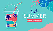 Summer time fun concept design. Creative background of landscape, panorama of sea and beach on glass of smoothie shake. Summer sale, post template