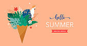 Summer scene with ice cream cone filled with jungle exotic leaves and parrot. Hello summer concept illustration, background and banner