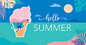 Summer time fun concept design. Creative background of landscape, panorama of sea and beach on ice cream. Summer sale, post template
