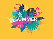 Summer time fun concept design. Creative background of landscape, panorama of jungle leaves and toucan. Summer sale, post template