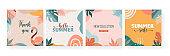 Bohemian Summer, set of modern summer sale post design with rainbow, flamingo, pineapple, ice cream and watermelon
