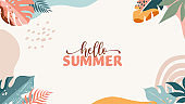 Bohemian Summer, modern summer sale background and banner design of rainbow, flamingo, pineapple, ice cream and watermelon