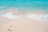 Blue sea with white beach in summer