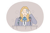 Stress, mental disorder, fear of public speaking concept