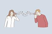 Misunderstanding, communication problems, questions concept