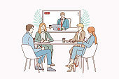 Video conference and teamwork concept