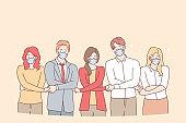 Teamwork, unity, protective masks during coronavirus pandemic concept