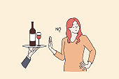 Healthy lifestyle and avoiding alcohol concept
