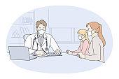 Visiting paediatrician during coronavirus pandemic concept