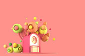 Abstract cartoon fairy-tale tiny cozy home in pastel autumn colors against a background of fantastic stylized plants, trees and grasses with copy of space is isolated. 3d illustration