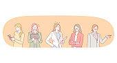Office worker, businesswoman, using gadgets concept