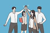 Successful business team, teamwork concept