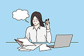 Working in office, career and professional occupation concept