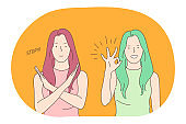Sign language, gestures, hands communication concept