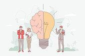 Brainstorming in imagination concept