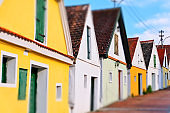 """Houses in a typical """"Kellergasse"""" in Lower Austria."""