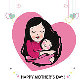 Mother and daughter hugging with hanging hearts. Happy Mother's Day greeting card vector illustration