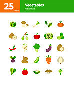 Vegetables flat icon set. Vector and Illustration.