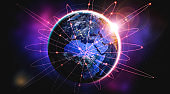 Global network connection covering the earth with lines of innovative perception