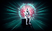 Thinking AI humanoid robot analyzing hologram screen shows concept of network