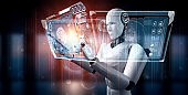 Robot humanoid use mobile phone or tablet in concept of AI thinking brain