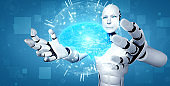 AI humanoid robot holding virtual hologram screen showing concept of AI brain