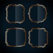 shiny vintage golden frame labels set