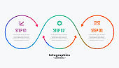 stylish three steps business infographic template