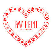 paw prints with heart shape animal love concept design