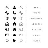business card icons pack in line and bold style
