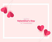 happy valentines day elegant paper hearts background
