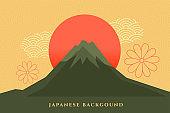japanese background with mount fuzi  decorative design