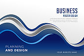 business presentation template in blue wavy style