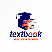 Graduation hat book papers for logo design vector image.